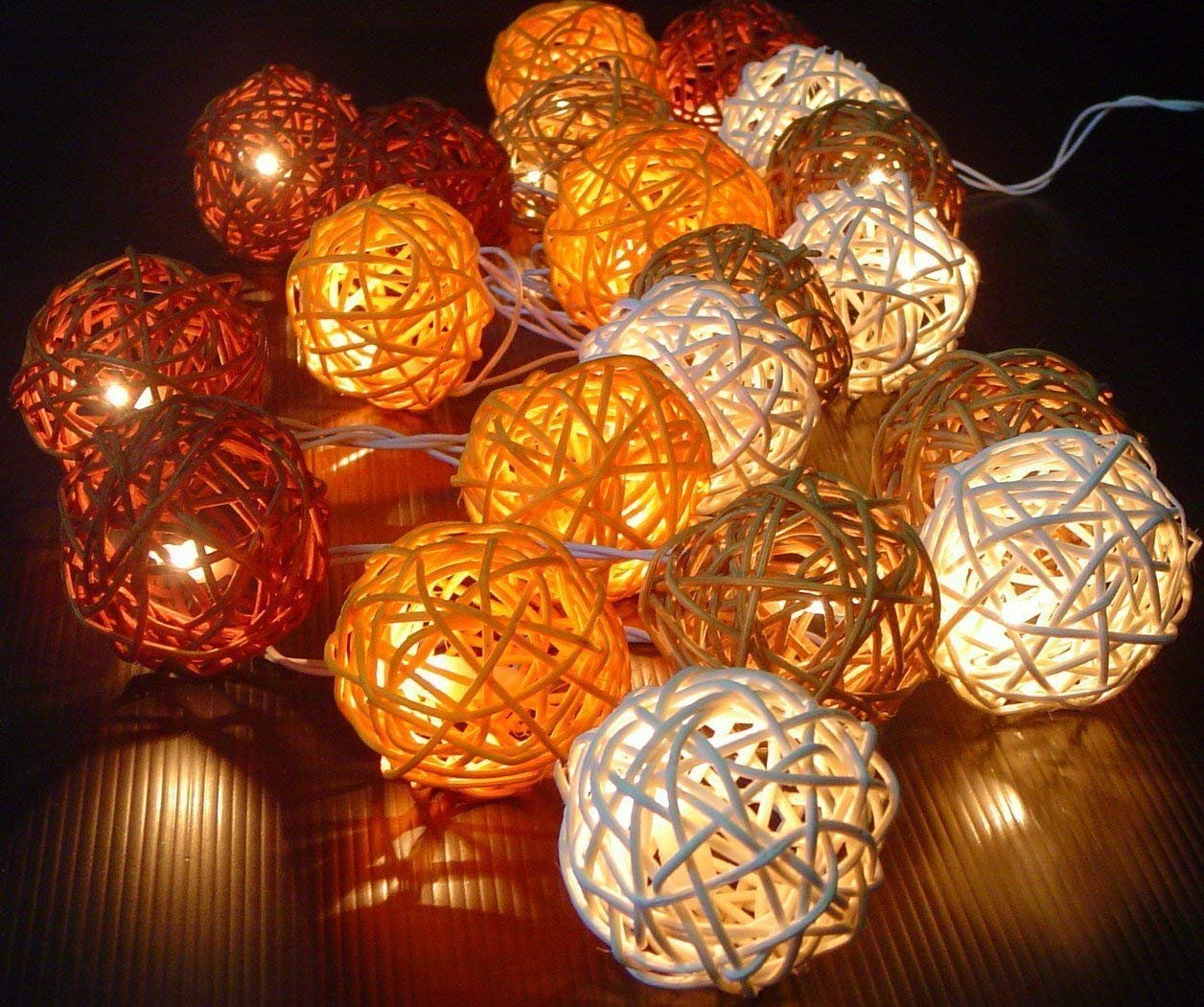 Thai Decorated Storm Autumn Browns Rattan Cane Battery Powered Led Wooden Ball Fairy Light String 3m (9.9 Feet) Long By shop by Thai Decorated