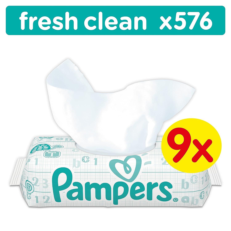 Pampers Fresh Clean Feuchttücher, 576Tücher, 9erPack (9 x 64 Stück) 576Tücher 4015400622567