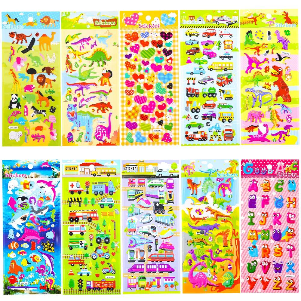 20 Hojas Diferentes 3D Puffy Stickers para ni/ños Ni/ña Ni/ño Regalo de cumplea/ños Ni/ños Artesan/ía /Álbumes de Recortes Creaci/ón de Tarjetas Phogary Kids Stickers Party Bag Fillers 1200+