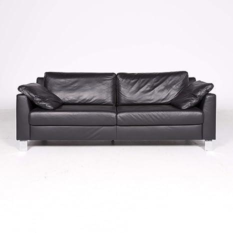 Ewald Schillig Flex Plus Designer Leather Sofa Black Genuine ...