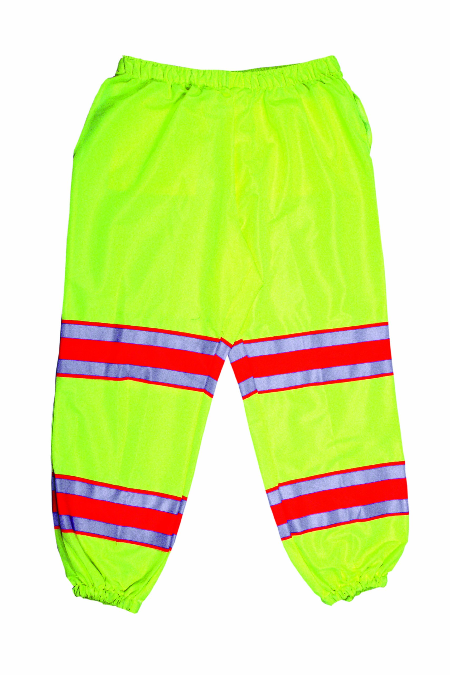 Mutual 16328 High Visibility Polyester ANSI Class E Pant with 4'' Silver/Orange/Silver Reflective Tapes, Lime