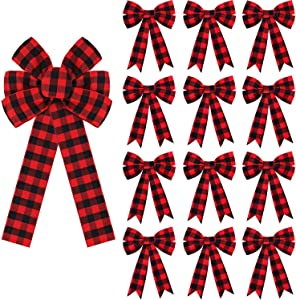 WILLBOND Christmas Plaid Bows Set Includes 18 Inch Plaid Bow and 12 Pieces 5.6 Inch Red and Black Buffalo Check Bow Decoration for Xmas Tree Home Decor