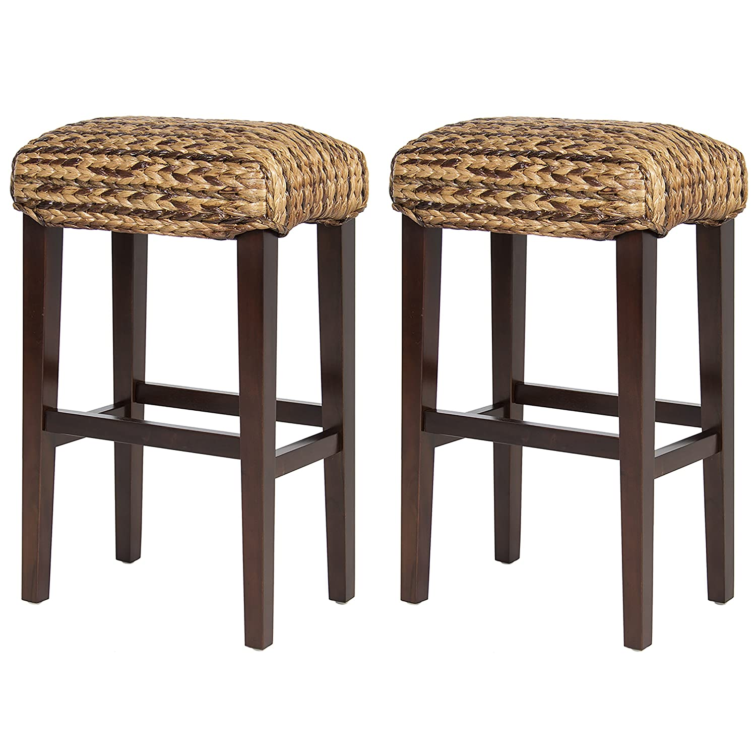 amazoncom best choice products bcp set of 2 hand woven seagrass bar stools mahogany wood frame bar height home u0026 kitchen
