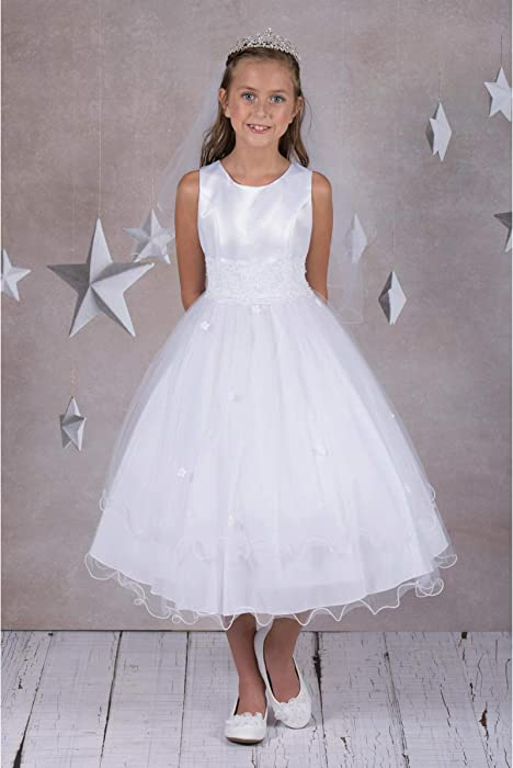 25f7857444bc Amazon.com  Little Girls  First Communion Lace Trim Tulle Wedding ...