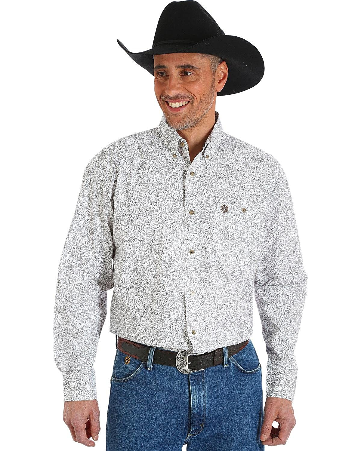 Wrangler Mens George Strait Chestnut Paisley Print Button Shirt Big and Tall Tan XX-Large Tall