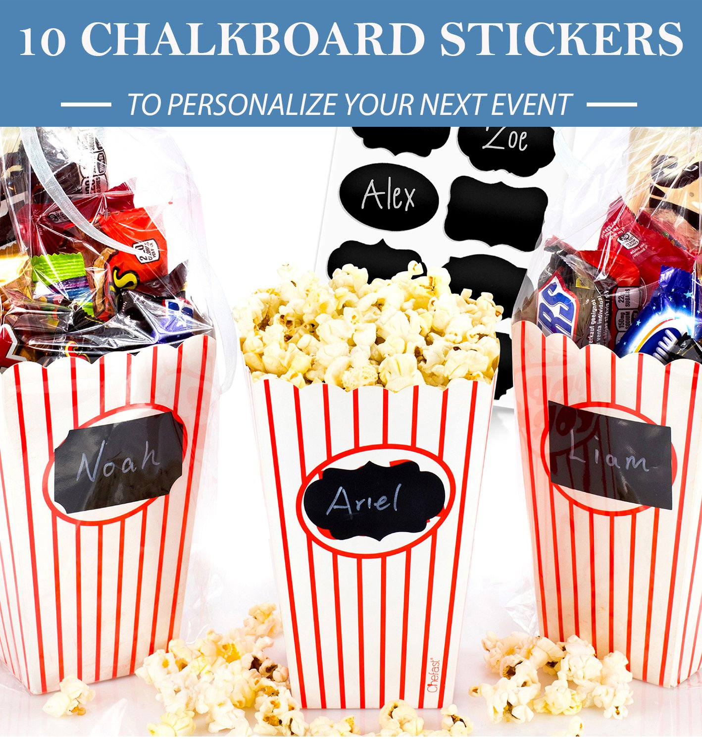 and Carnivals 30x Red and White Striped Mini Boxes With 10x Chalkboard Stickers Chefast Small Popcorn Box Pack Ultimate Party Favor Movie Nights Perfect for Birthday and Theater Themed Parties