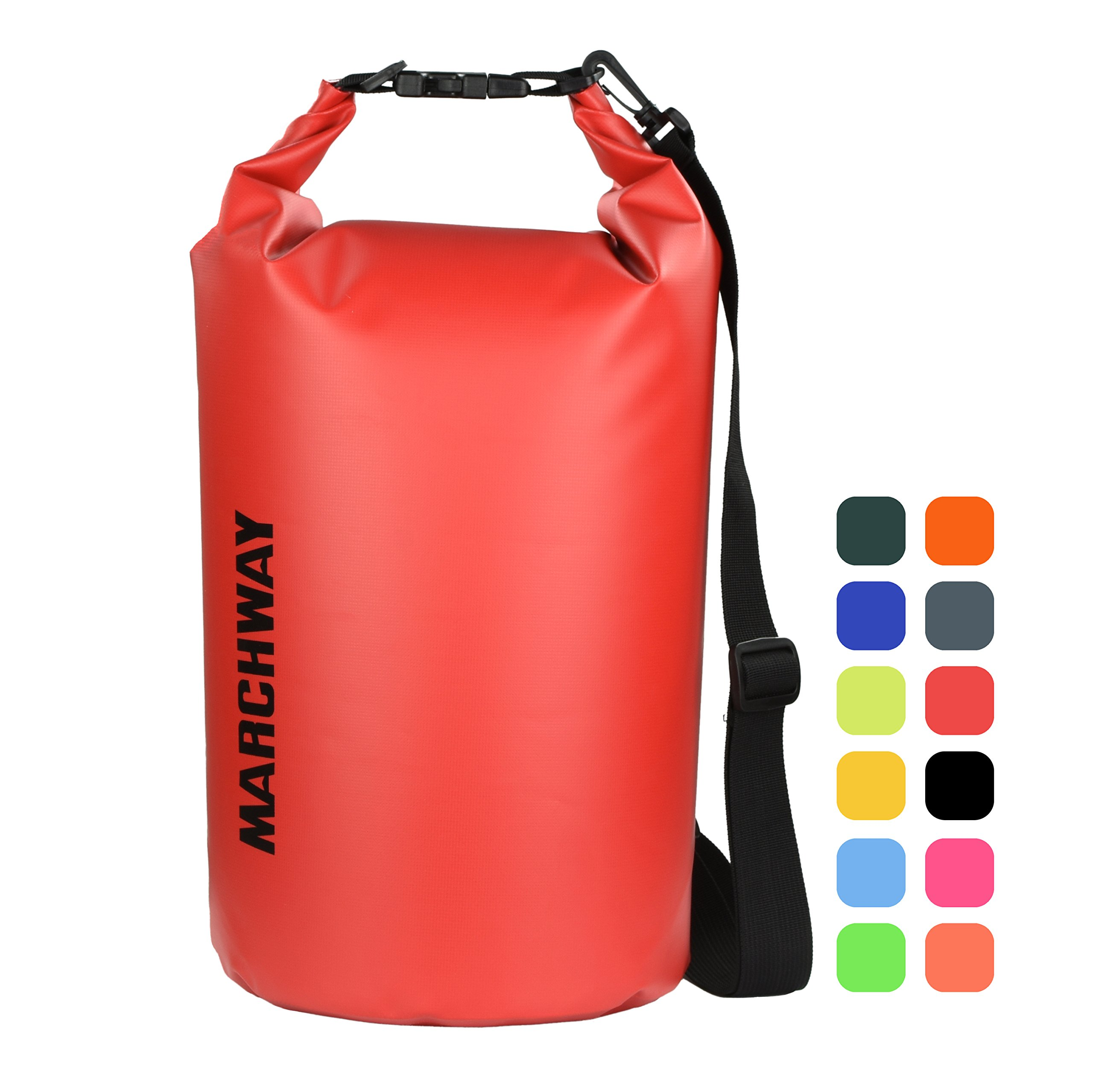 MARCHWAY Floating Waterproof Dry Bag 5L/10L/20L/30L, Roll Top Sack Keeps Gear Dry for Sport, Kayaking, Rafting, Boating, Swimming, Camping, Hiking, Beach, Fishing (Red, 20L) by MARCHWAY