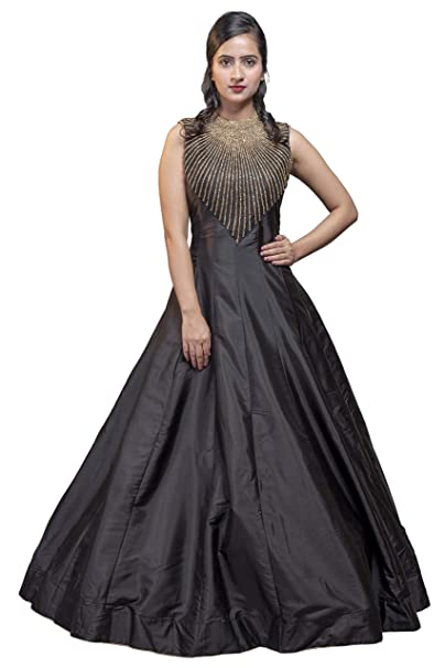 1ecbba5237 aaaina® Silk Fabric Fully Flaired Black Floor Touch Gown Style with Heavy  Golden Stone Rays