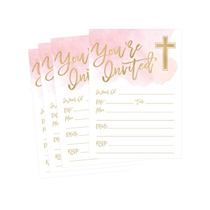 50 Invitaciones Religiosas De Color Rosa Confirmación