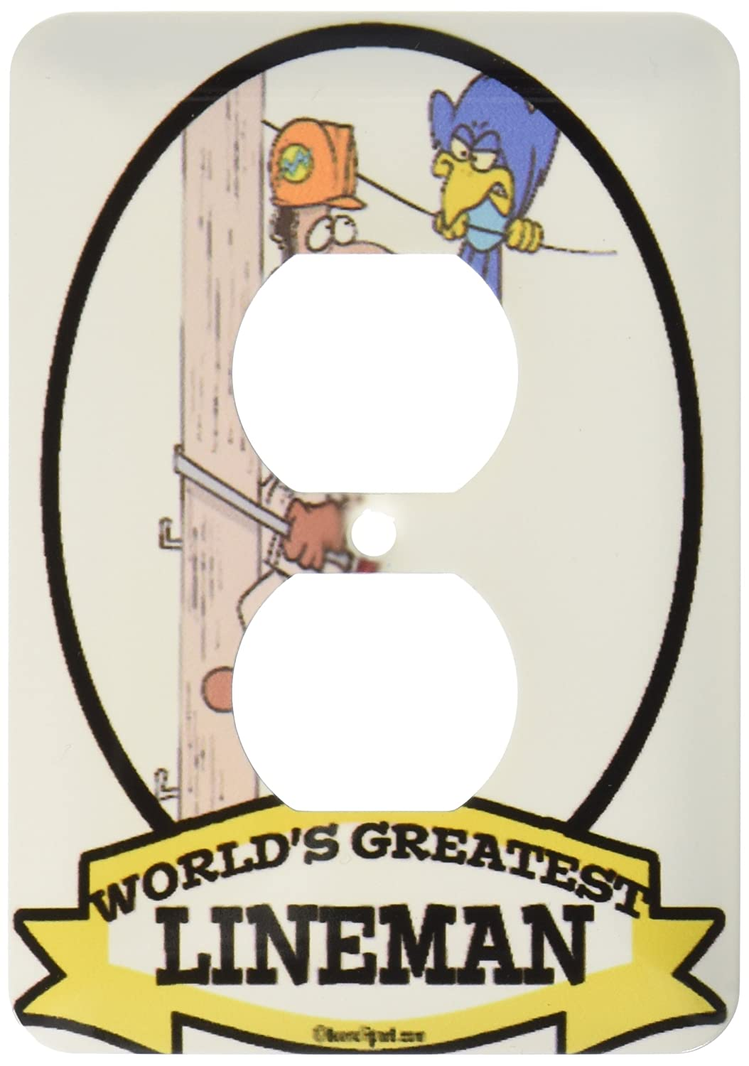 3dRose lsp/_103318/_6 Funny Worlds Greatest Lineman Cartoon 2 Plug Outlet Cover Multicolored