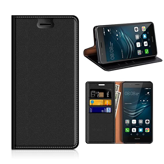 watch 1b4af 70680 Huawei P9 Lite Wallet Case, Mobesv Huawei P9 Lite Leather Case/Phone Flip  Book Cover/Viewing Stand/Card Holder for Huawei P9 Lite, Black