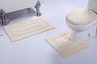 Luxury Home Collection 3 Piece Microfiber Bathroom Rug Set Non-Slip Bathroom Rug Contour, Mat and Toilet Lid #673 (White, 3 PCE Set)