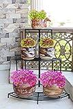 NAYAB HANDICRAFTS Black Floral Design Metal Step Style 3 Tier Corner Shelf For Flower Pots, Planters Display Stand / Shoe Rack