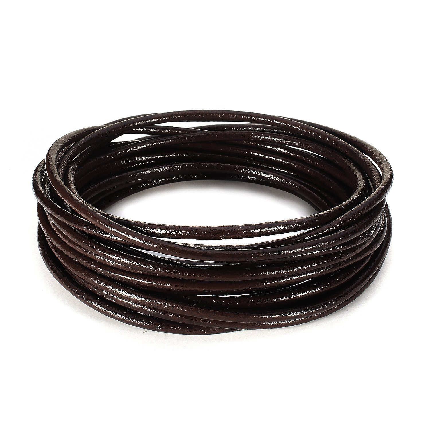 BEADNOVA 3mm Genuine Round Leather Cord Leather Strips For Jewelry Making Bracelet Necklace Beading, 5 Meters/5.5 Yards, Black