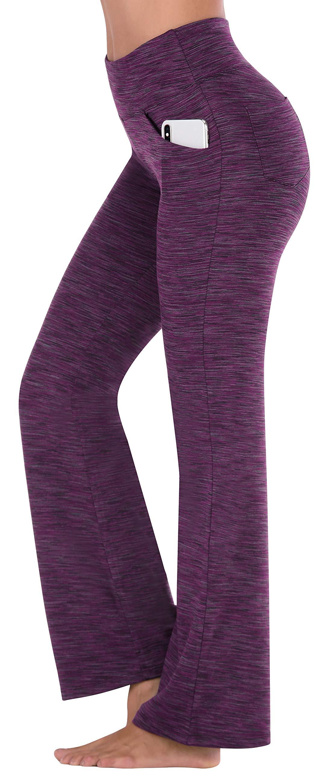 IUGA Bootcut Yoga Pants with Pockets for Women High Waist Workout Bootleg Pants Tummy Control, 4 Pockets Work Pants for Women (Space ZISE, Large) by IUGA
