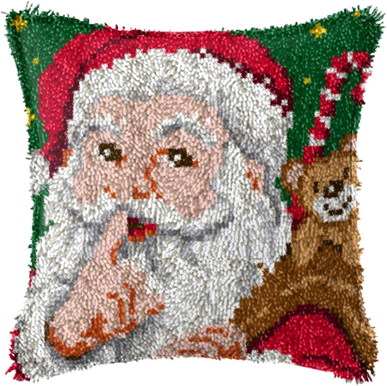,A 17X17 Inch SKTWOE DIY Kn/üpfkissen Weihnachten Kissenbezug Kn/üpfen Bastelset Erwachsene Latch Hook Kit 43X43cm