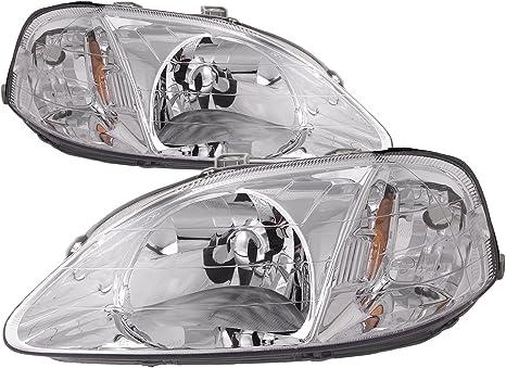 Headlightsdepot Compatible With Honda Civic Headlights Sedan Hatchback Coupe Headlamps Driver Passenger Pair New