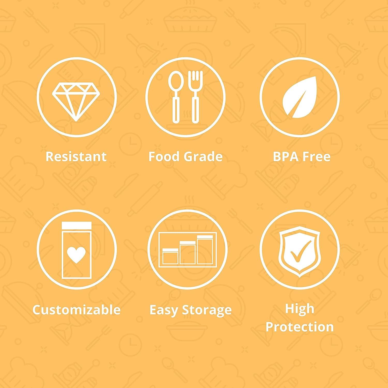 Tarros con Tapadera Transparente de Polietileno. D Luxy Pack 4 Botes de Polietileno Alimentario Capacidad 1,5 L 20x10cm