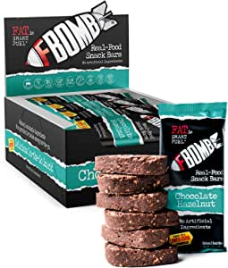 FBOMB Real Food Snack Bars: Clean, Low Carb, Natural Ingredients | Paleo & Keto Snack Bar | Gluten Free, Dairy Free, Non-GMO | Chocolate Hazelnut Bars- 12 Pack (24 Servings)