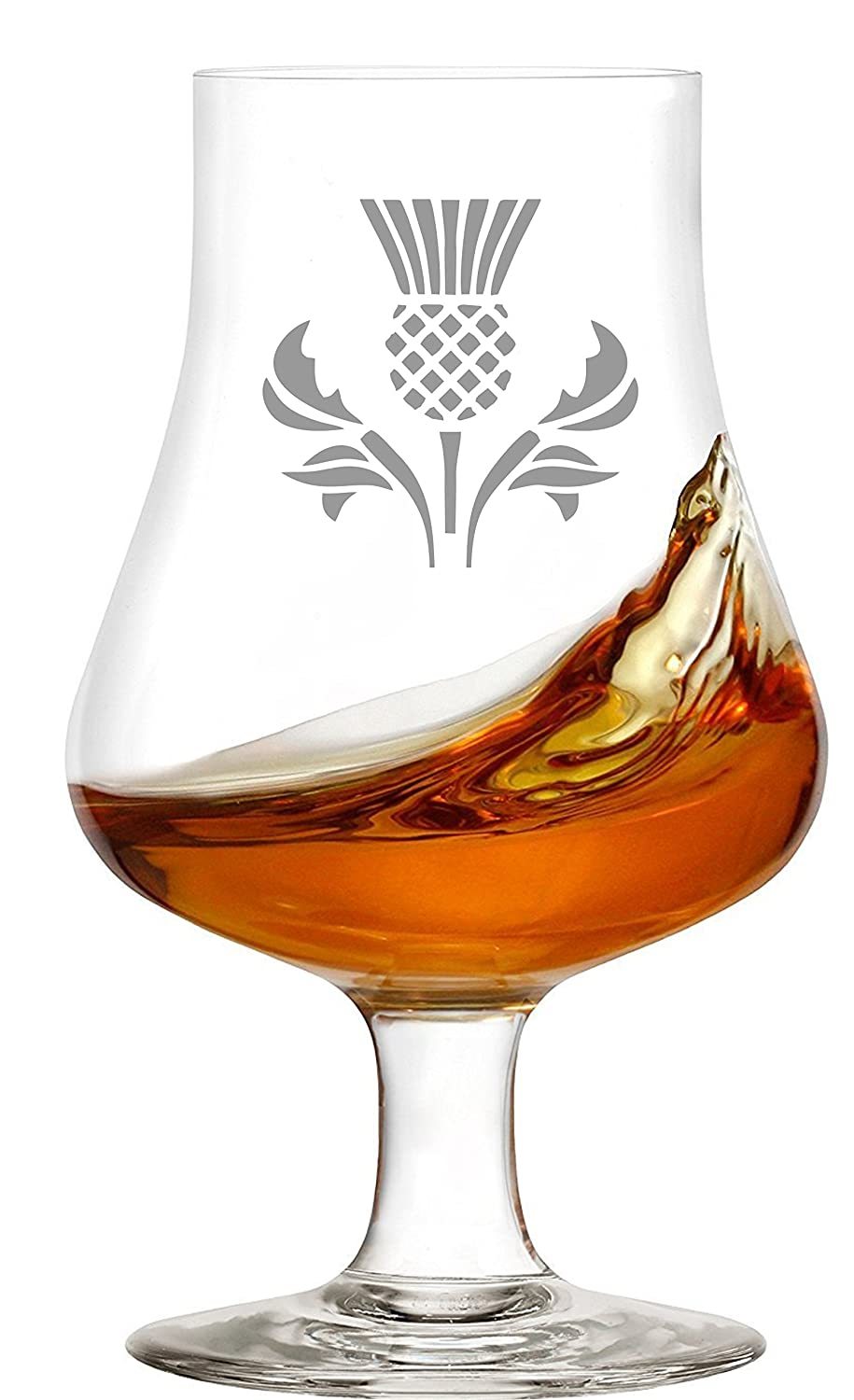 Whisky Nosing Glass with Scottish Thistle Design Lapal Dimension