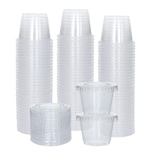 [100 Sets] 1 oz Small Plastic Containers with Lids, Jello Shot Cups with Lids, Disposable Portion Cups, Condiment Containers with Lids, Souffle Cups for Sauce and Dressing
