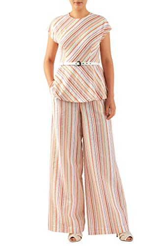 Vintage Wide Leg Pants 1920s to 1950s History eShakti Womens Cotton seersucker stripe belted top and palazzo pants $60.95 AT vintagedancer.com