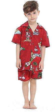Hawaii Hangover Chico Camisa de Aloha Luau Camisa de Navidad Juego de Cabana en Santa roja