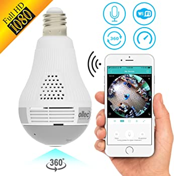 OLTEC Light Camera Security 1080p WiFi Wireless Bulb