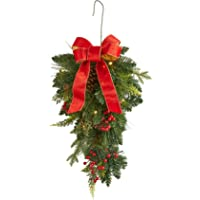 BrylaneHome Christmas Pre-Lit Classic 24″ Teardrop Swag, Green Red
