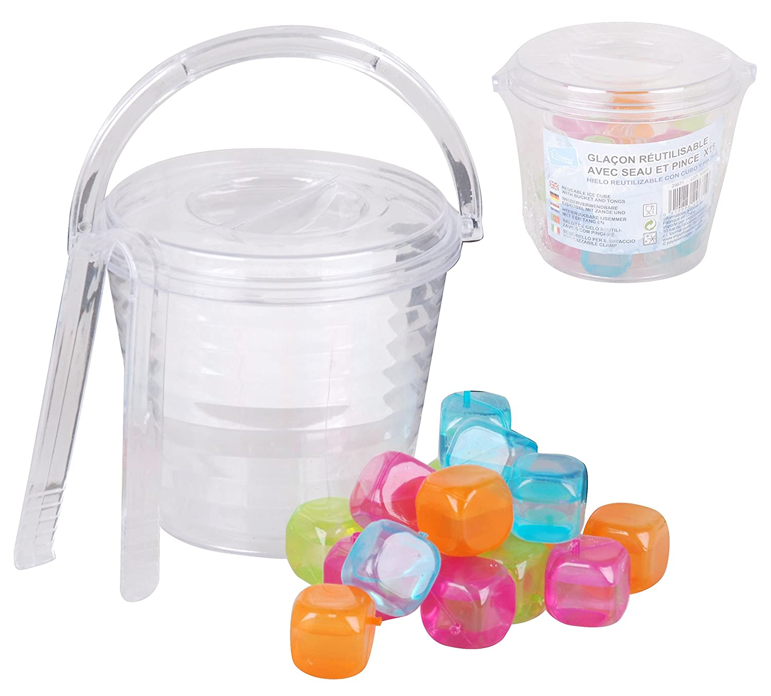 Plastic Party Ice Serving Holder Bucket Cooler Tongs /& 18 Reusable Ice Cubes