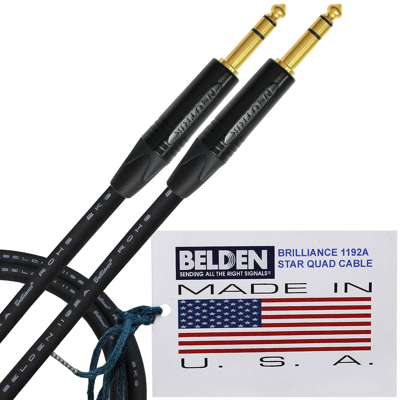 3足 – BELDEN Brilliance 1192 A (米国製) – プレミアムスタークアッド、高品位Balancedパッチケーブルwith Neutrik np3 X - B 1 / 4インチ( 6.35 MM ) 3極TRSステレオプラグ B01AZ43PMK