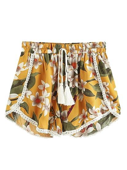80164c698a Amazon.com: Romwe Women's Floral Print Random Knot Front Elastic Mid Waist  Wide Leg Pom Pom Trim Beach Shorts: Clothing