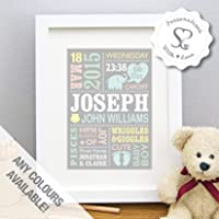 Personalised Cute Baby Elephant New Baby Gift, Birth Details, Christening, Boy, Girl, Newborn Stats, Nursery Art, Picture Gift, Childs Room Art - FREE SHIPPING - Print or Framed Print