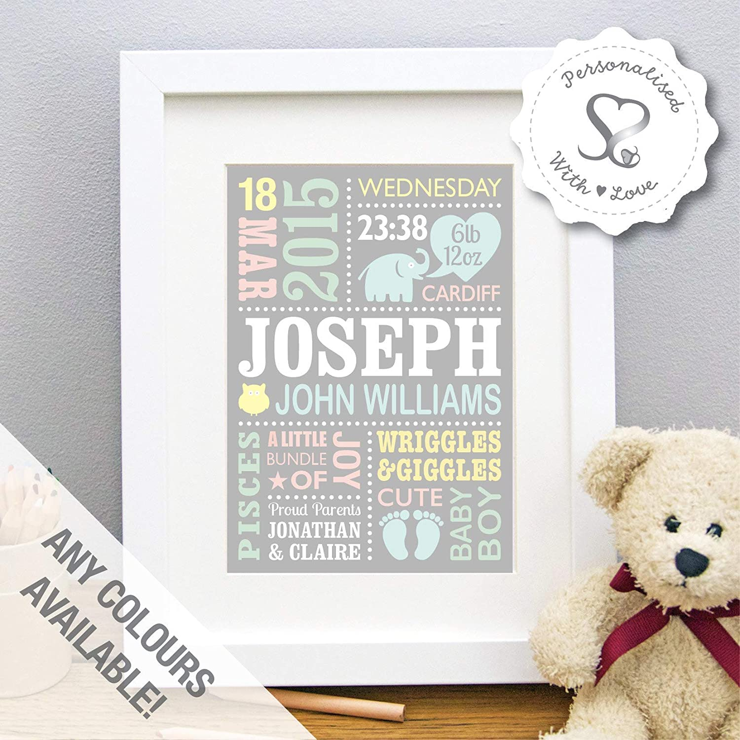 Personalised Cute Baby Elephant New Baby Gift, Birth Details, Christening, Boy, Girl, Newborn Stats, Nursery Art, Picture Gift, Childs Room Art - FREE ...