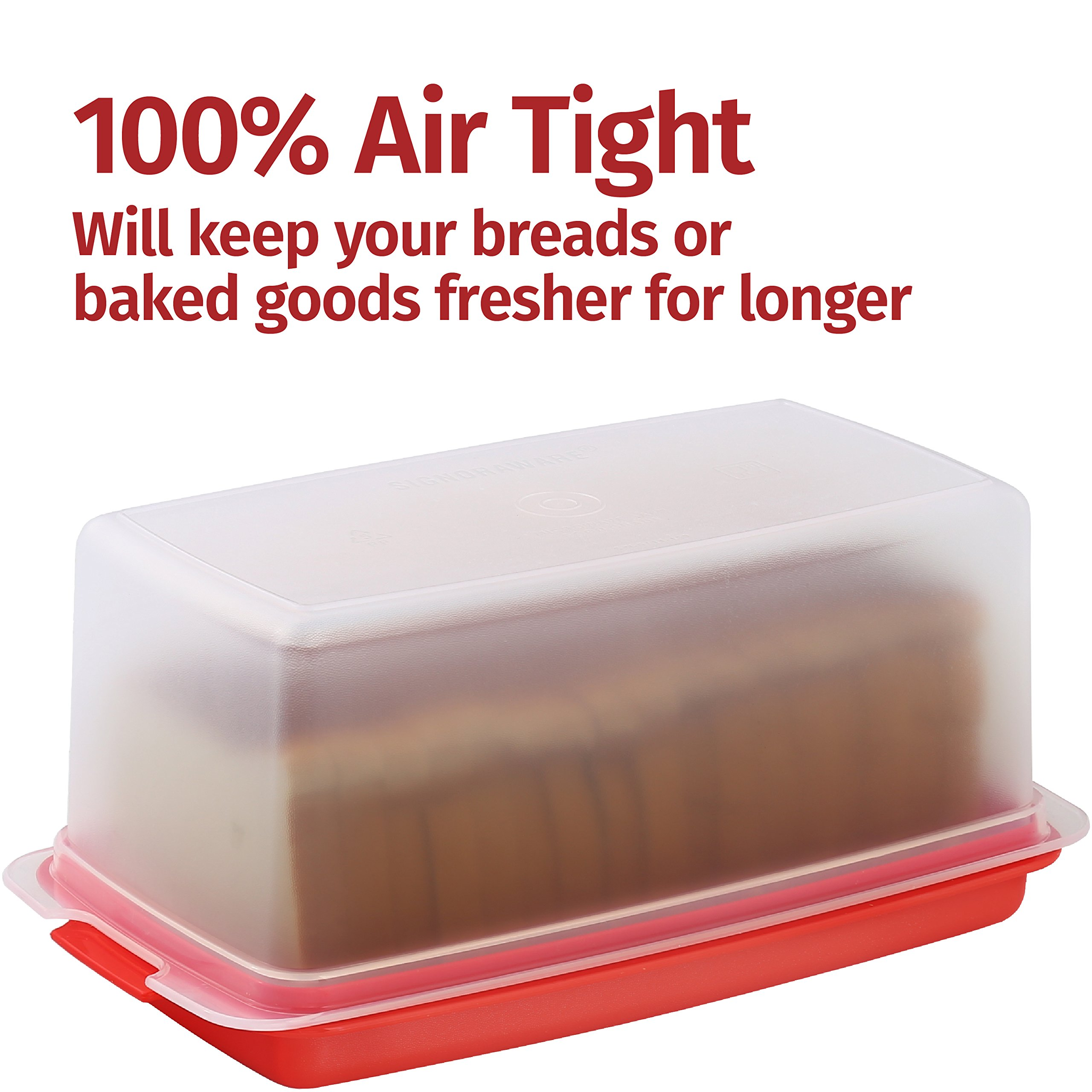 Signoraware Bread Box - Plastic Food Storage Container, Keeps Bread Fresh and great for Table Serving