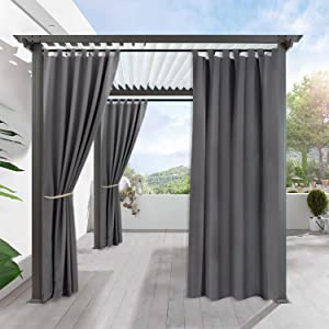 RYB HOME Outdoor Curtains 108 inches Long - Outside Curtains for Patio Waterproof, Insulated Blackout Curtain Panel for Outdoor Dining Area Pool Hut, 1 Piece, Width 52 by Length 108 inch, Grey