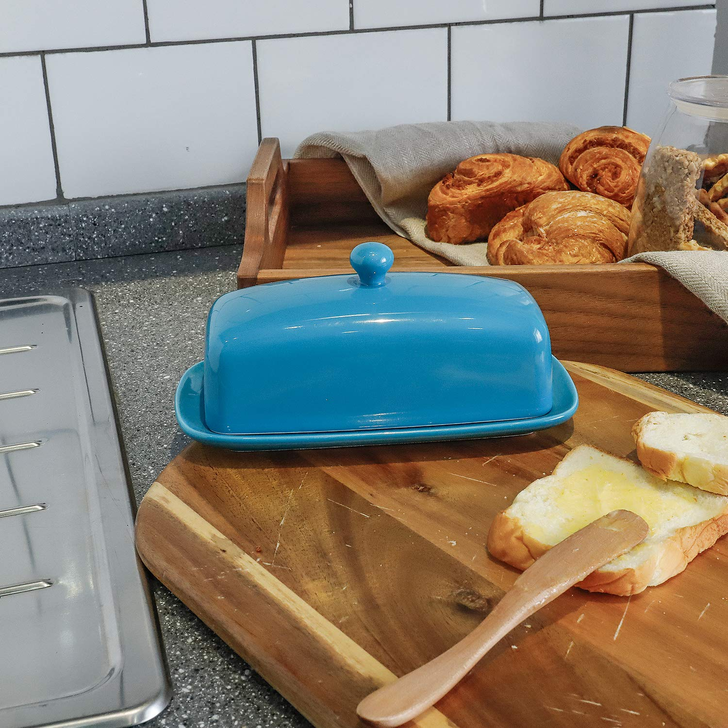 Perfect for East//West Butter Sweese 3173 Porcelain Butter Dish with Lid Navy