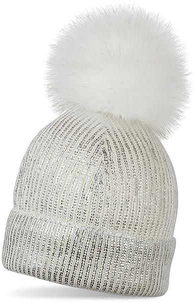styleBREAKER caldo berretto con pon pon in maglia metallizzata e pon-pon  removibile in pelliccia sintetica 9325aeee23ee