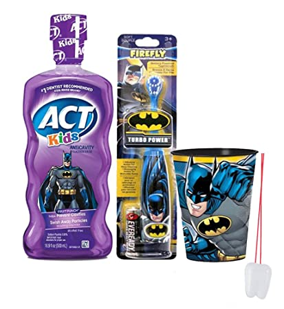 Batman Super Hero 3pc Bright Smile Oral Hygiene Set! Batman Turbo Powered Toothbrush, Mouthwash