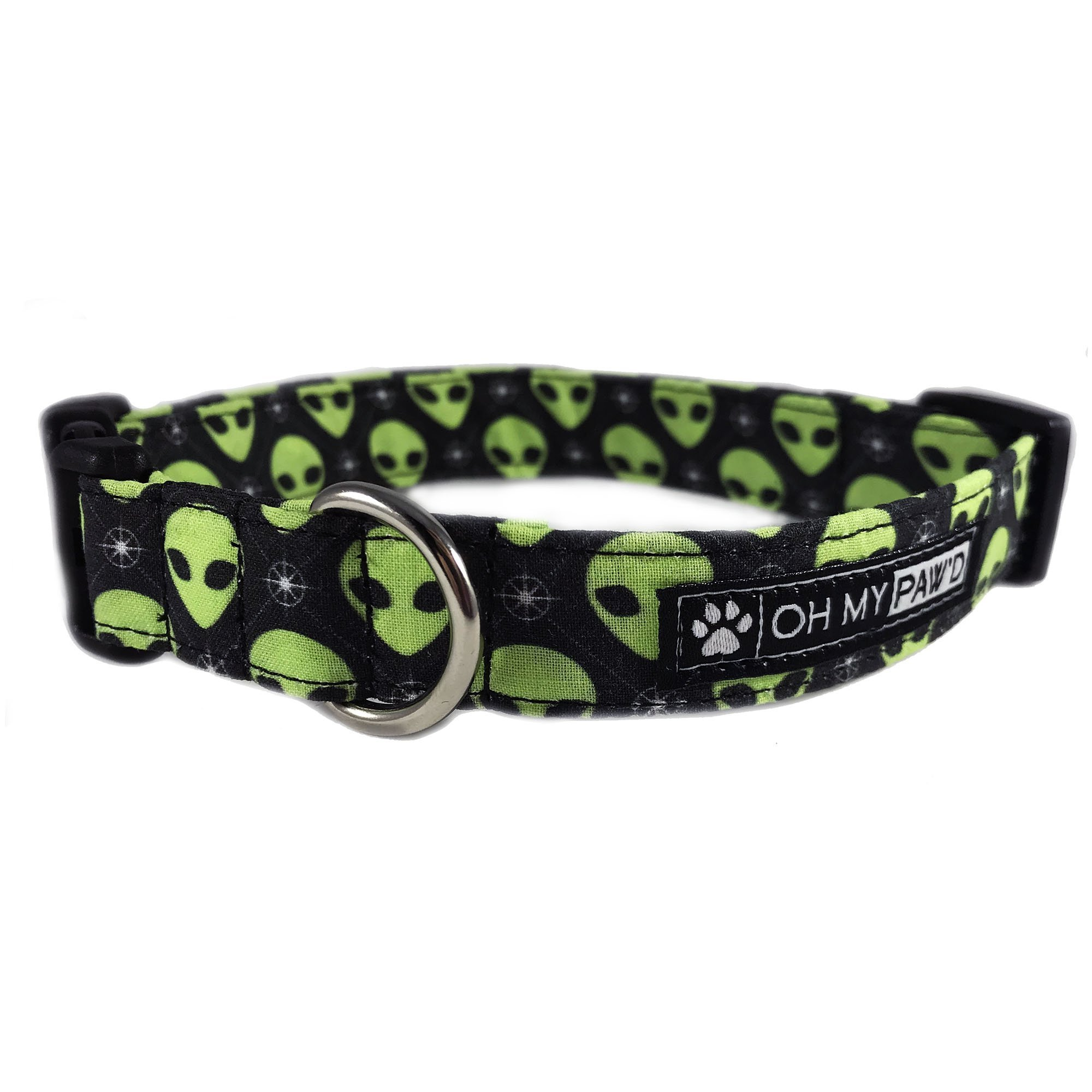 Green Martian Head Dog or Cat Collar for Pets Size Extra Small 5/8'' Wide and 7-11'' Long by Oh My Paw'd