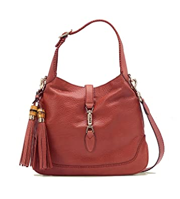 f18fcea36017 Gucci Pink Coral New Jackie Leather Shoulder Bag With Bamboo Tassel Large