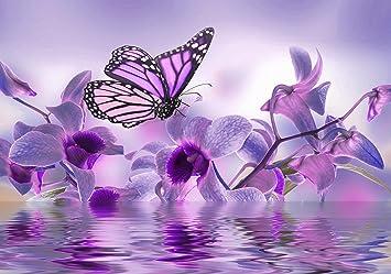 VLIES FOTOTAPETE violett Orchidee Tapete XXL Vliestapete