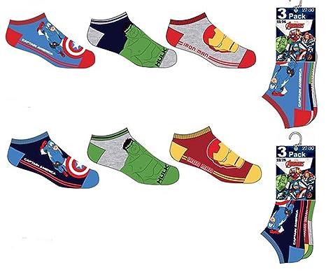 Pack 6 pares de calcetines cortos niña (tobilleros) 6 modelos diferentes diseño AVENGERS (