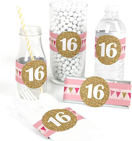Amazon Com Big Dot Of Happiness Sweet 16 Diy Party Supplies Birthday Party Diy Wrapper Favors And Decorations Set Of 15 Toys Games