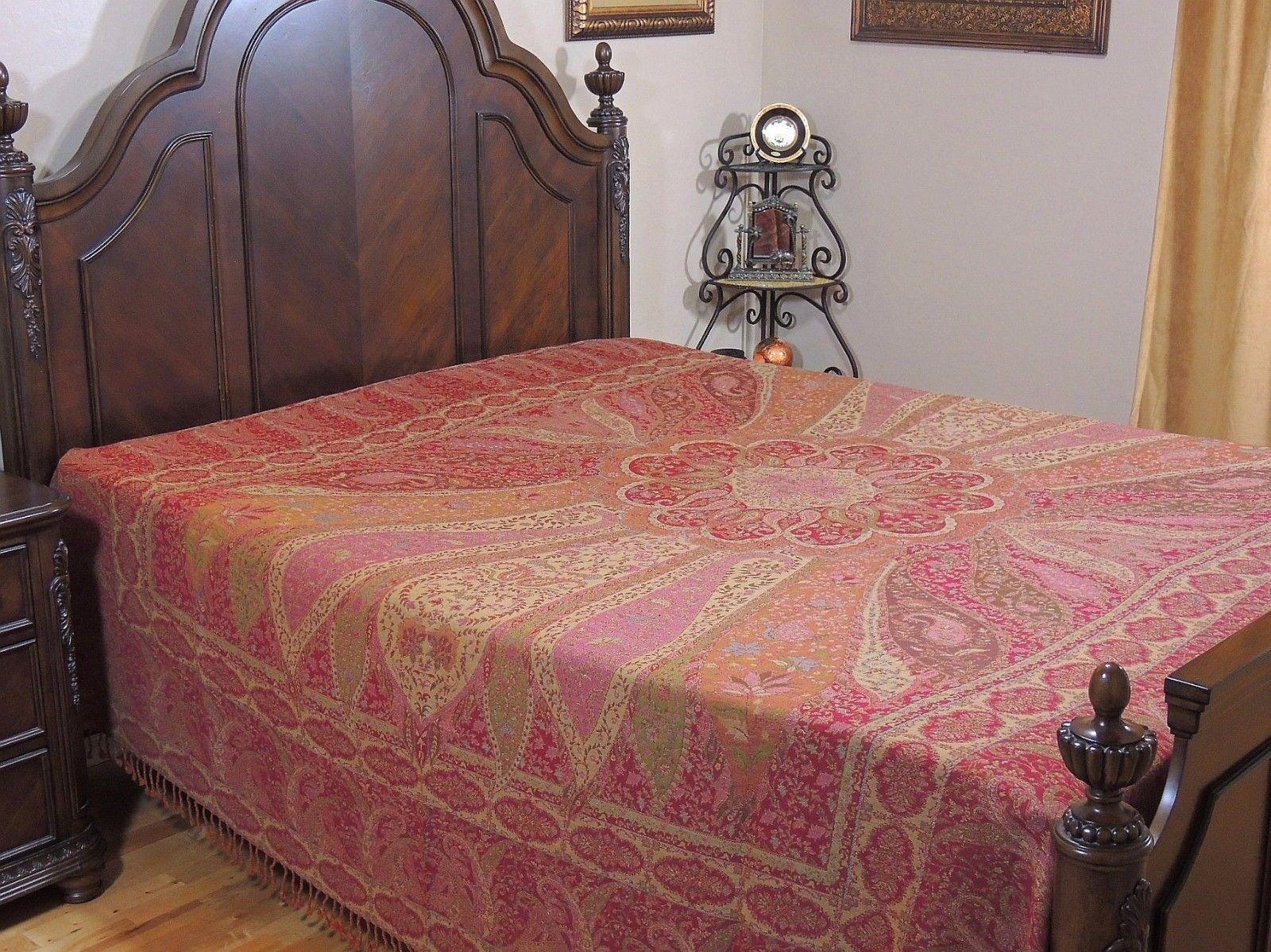 NovaHaat Pink, Beige and Tangerine Paisley 100% Wool Bedding - BAHAAR (Season of Spring) REVERSIBLE Indian Bedspread with Mughal motifs from Kashmir - Queen 108 Inch x 90 Inch or Use as Blanket Throw