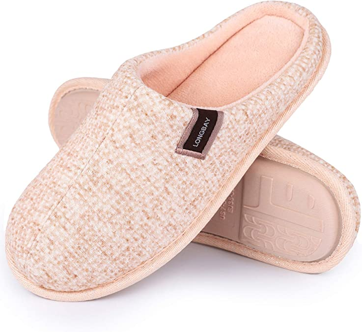 LongBay Women's Men's Comfy Cotton Knit Slippers Breathable Memory Foam Slip On Clogs