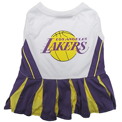 Amazon.com   Pets First NBA Los Angeles Lakers Dog Cheerleader Dress ... 918ff2f01