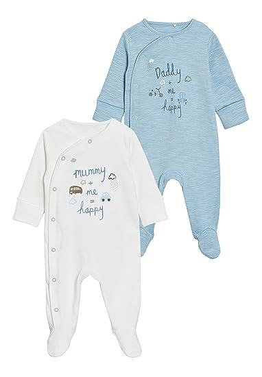 next Bebé-Niños Pack De Dos Pijamas Tipo Pelele con Texto Mummy Y Daddy (