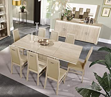 Amazon Com Glossy Beige Finish Dining Room Set 9pcs Modern Made In Italy Soflex Dover Table Chair Sets