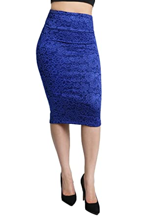 Knee Length Comfortable Basic Solid Color Pencil Skirt for Women ...